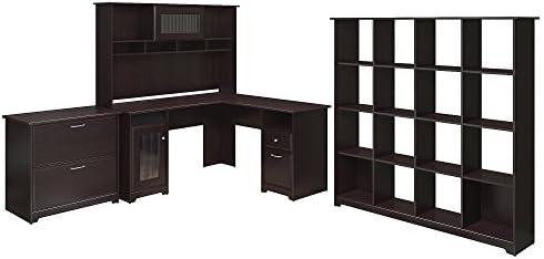 Bush Furniture Cabot L Shaped Desk, Hutch, 16 Cube Bookcase, and Lateral File Cabinet in Espresso Oak