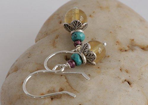 Hill Tribe Silver Dangle - Sterling & Hill Tribe Silver Fluorite TURQUOISE Garnet Dangle Drop Earrings // Artisan Handmade Jewelry