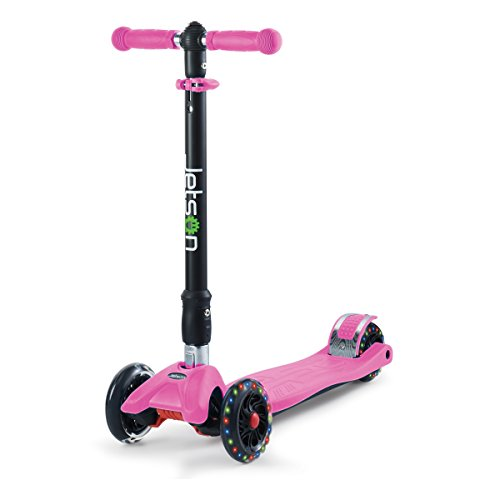 Jetson Twin 4-Wheel Folding Kick Scooter for Toddler and Kids - Unique Dual Rear Wheel Adds Stability - Rolling Wheels Light Up with Colorful LEDS - Easy Assembly, (Pink)