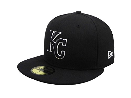 New Era 59Fifty Hat MLB Kansas City Royals Black/White Fitted Cap (8)