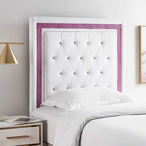 Allure Headboard - Tavira Allure College Dorm Headboard - White with Purple Crystal Border