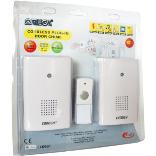 Omega 17424 Mains Plug In Cordless Wireless Door Bell Chime Twin Pack - White by Omega by Omega
