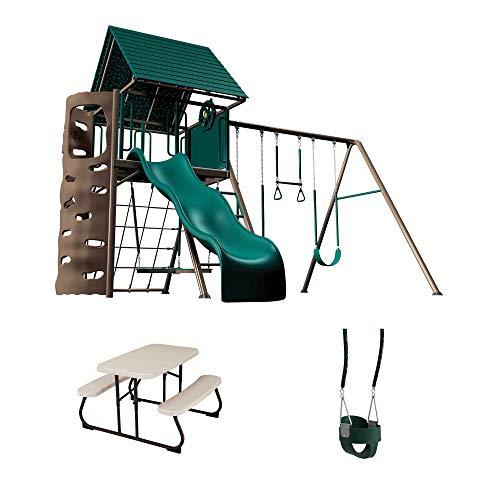 - Lifetime 90188 Playset, Children's Picnic Table and Bucket Swing Bundle, Earthtone