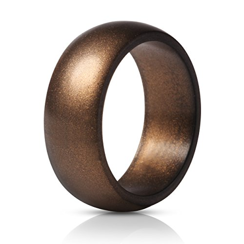 ThunderFit Silicone Ring Wedding Band for Men - 1 Ring (Bronze, 8.5-9 (18.9mm))