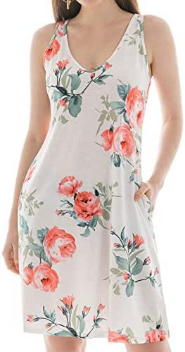 Summer Dresses for Women, Swing Loose T Shirt Dresses with Pocekts Beach Cover Plain/Floral Midi Tank Dress