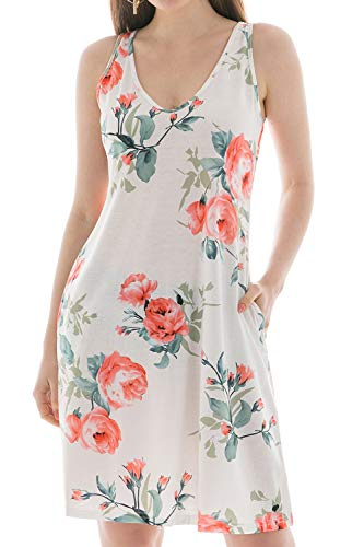 - Casual Dresses for Women, Sleeveless Pockets Casual A-line T-Shirt Dresses for Party Wedding Floral White XL