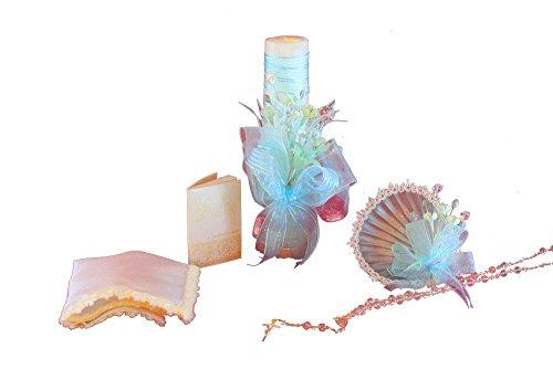 . Bautizo Complete Set. Shell, Napkin, Rosary,Candle, Prayer Book. B37 ()