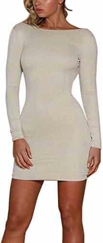f5107395b4876 Kamendita Womens Dresses Womens Sexy O-Neck Blackless Shiny Bodycon Dress  Ladie Evening Party Club