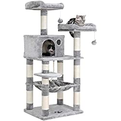 """FEANDREA SONGMICS 58"""" Multi-Level Cat Tree with Sisal-Covered Scratching Posts, Plush Perches, Hammock and Condo, Cat Tower Furniture - for Kittens, Cats and Pets UPCT15W"""