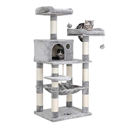 -Level Cat Tree with Sisal-Covered Scratching Posts, Plush Perches, Hammock and Condo, Cat Tower Furniture - for Kittens, Cats and Pets UPCT15W ()