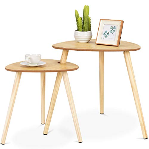 Nesting Coffee Tables End Accent Sofa Side Table Wooden Leg Living Room Set  Of 2