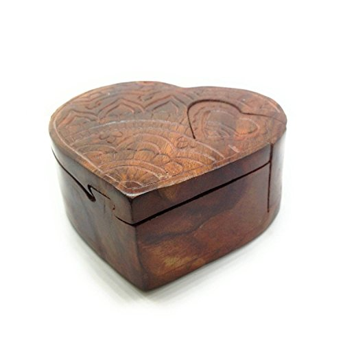 "Lify Heart All Natural Exotic Woods Puzzle Box, 4.5"" X 4"" X 2"" with Sliding Wooden Key Lock, Sliding Cover and Inner Lid to Hidden Compartment. Hand-Made Wood Onlay Design on Lid.- 1 Piece"