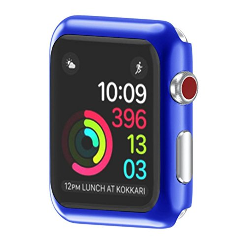 Apple Watch 3 42mm Case, SUKEQ Ultra Thin Electroplate PC Hard Case Cover All Around Full Screen Protector Coverage For Apple Watch Series 3 42mm (Blue) by SUKEQ (Image #6)