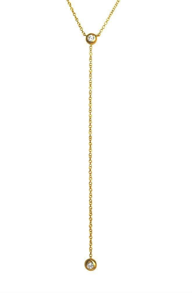 e70299480e72f Bezel diamond lariat necklace, 14k solid gold