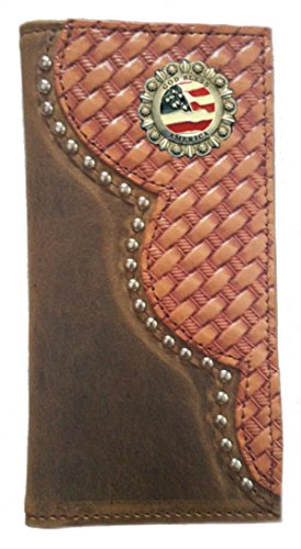 IN Bless God Buckskin USA Leather MADE Proudly Weave Basket Color Custom THE Long America Checkbook Wallet SfwgxSOtq