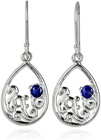 Ornate Teardrop Dangle Earrings in 925 Sterling Silver Earrings with Blue Synthetic Faceted Stones