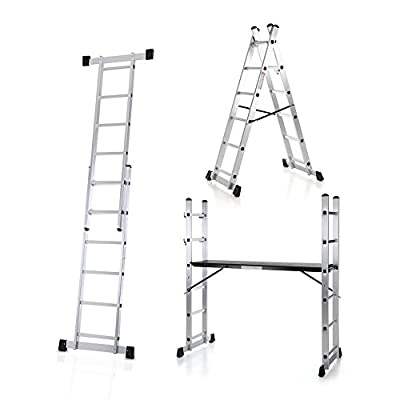 iKayaa 4 in 1 DIY Multi Purpose Scaffolding Ladder Aluminum Extendable Step Stool Work Platform Tower 330LBS