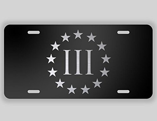 JMM Ind Three Percenter Roman Numeral Vanity Novelty License Plate Tag Metal 12-Inches by 6-Inches Etched Aluminum UV Resistant ()
