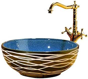 カウンタートップ洗面器の洗面台のバスルームコンパクトセラミック洗面器、カウンタートップマウント円形の洗面器、41X15 cm(蛇口は含まれていません)