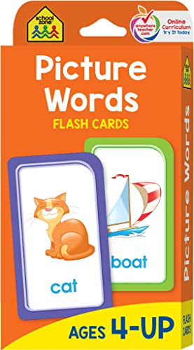 School Zone - Picture Words Flash Cards - Ages 4 and Up, Preschool to Kindergarten, Phonics, Early Reading Words, Sight Words, Word-Picture Recognition, and -