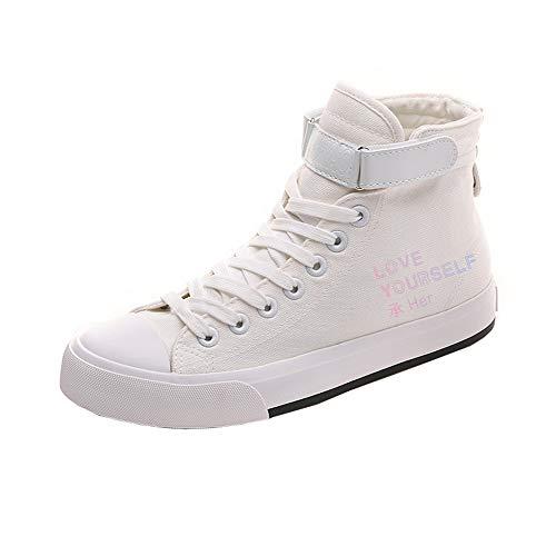 Popular Lona Bts White12 Con Personalidad Casuales Cordones Ayuda Zapatos Cómodo De Alta Pareja r8Uq8T0xw
