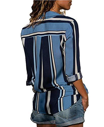 Chic Tunique Col Tops Shirt Casual Blouse Chemise Marine t Rayure V Femme Manches Longue Bleu Multicouleur ASSKDAN xqWzO0vw7
