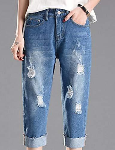 YFLTZ Pantalon en Coton pour Femmes - Taille Haute Couleur Unie Blue