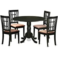East West Furniture DLNI5-BLK-C 5 Piece Dining Table and 4 Chairs Set for 4 People