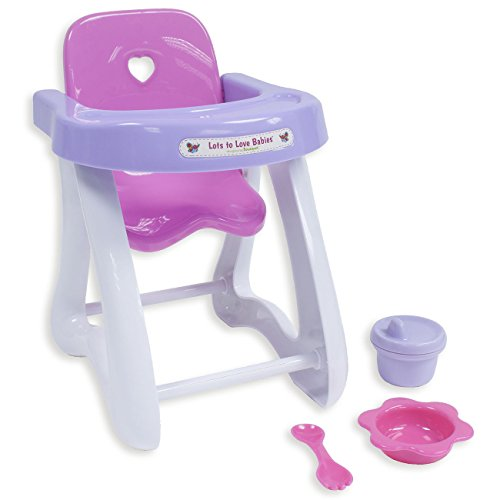 "JC Toys 4-Piece Small Baby Doll Highchair Gift Set fits Small dolls up to 11"" dolls - Ages 2+ - Designed by Berenguer (4 Doll Piece Crib)"