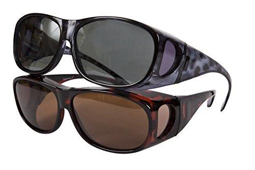 Multi Pack - 1x Black + 1x Brown Opticaid Overglasses - Sunglasses for Glasses - Polarised Overglasses for prescription glasses by - Overglasses Polarised