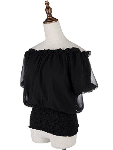 Style Shirt Noir Paysanne Taille Soie Boho Kaci Robe Manches Anna Femmes Top Mousseline de Velours en n6w8xqZ7C