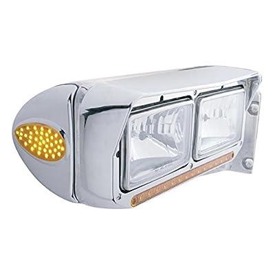 CPW (tm) Peterbilt 39 LED Teardrop Headlight Turn Signal Cover - Amber LED/Chrome Lens