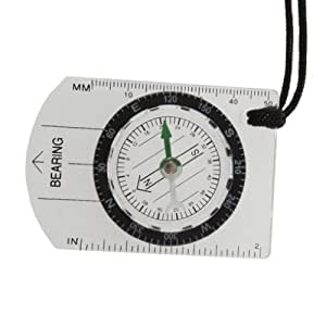 TOOGOO(R) Mini All in 1 Outdoor Hiking Camping Baseplate Compass Map Measure Ruler