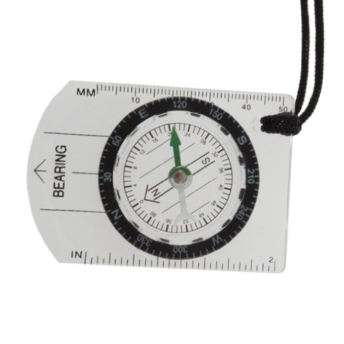TOOGOO(R) Mini All in 1 Outdoor Hiking Camping Baseplate Compass Map Measure Ruler (Compass Map Measure)