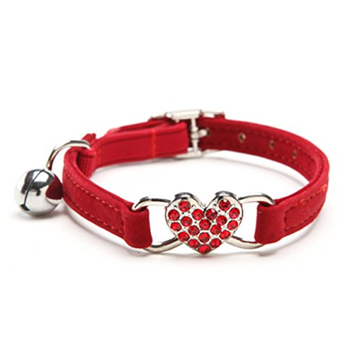 KOOLTAIL Red Heart Bling Cat Collar with Safety Belt and Bell 8-11 Inches
