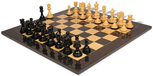 Marengo Staunton Chess Set Ebony & Boxwood Pieces with Black & Ash Burl Chess Board - 4.25