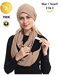 Zipper Travel Pocket Infinity Scarf Hat Set - Navy Women...