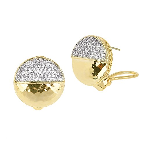 Gold Tone Hammered Circle Half Micro Pavé CZ French Clip Earrings
