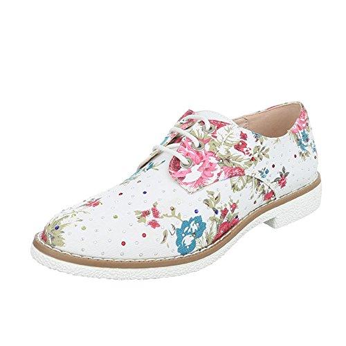 Ital-Design - Zapatos Planos con Cordones Mujer Weiß Multi