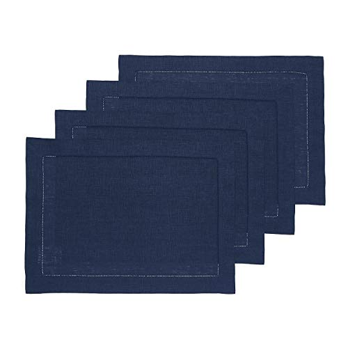 Solino Home Hemstitch Linen Placemats - Navy Set of 4, 14 x 19 Inch 100% European Flax Natural Fabric - Machine Washable Placemats - Handcrafted with Classic Hemstitch & Mitered Corners
