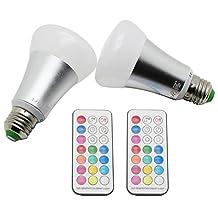 LJY 2-Pack E27 10W RGBW LED Color Changing & Pure White Light Bulbs AC 85-265V w/ IR Remote Control & Custom Timing Setting