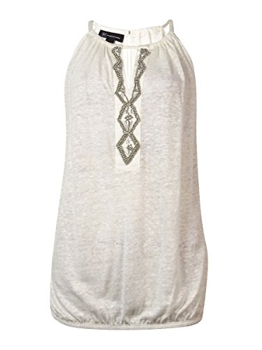 (INC International Concepts Women's Beaded Keyhole Line Top (PS, Washed White))