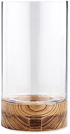 Hurricane Candle Holder With Wood Base In Clear 60 Glass 40 Wood Amazon Co Uk Kitchen Home
