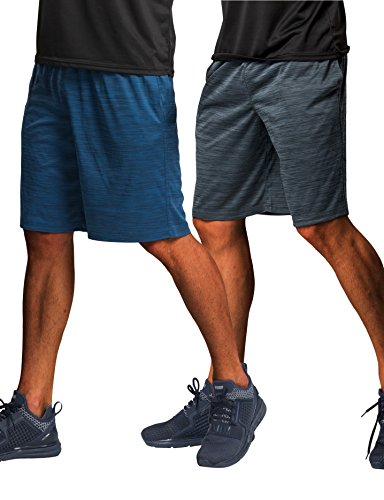 CYZ Collection CYZ Men's Performance Jersey Short-Blue Charcoal Melange (Microfiber Mens Running Short)