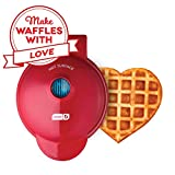 Dash DMW001HR Machine for Individual, Paninis, Hash Browns, other Mini waffle maker, 4 inch, Red heart