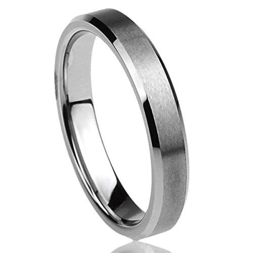 Prime Pristine Titanium Wedding Band Ring for Women Beveled Edges Brushed Ring for Woman