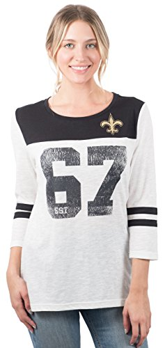 Icer Brands NFL New Orleans Saints Women's T-Shirt Vintage 3/4 Long Sleeve Tee Shirt, X-Large, White