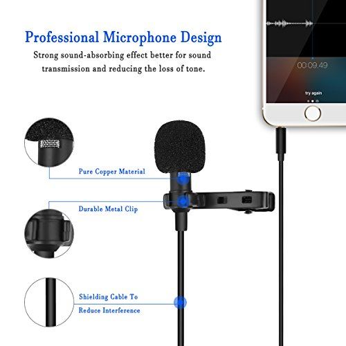 PLAY X STORE Lapel Omnidirectional Condenser Microphone Recording Clip On Mini Mic For IPhone And Android Mobile Phone,Tablet & PC With 1.5 Meters Cable (BLACK)
