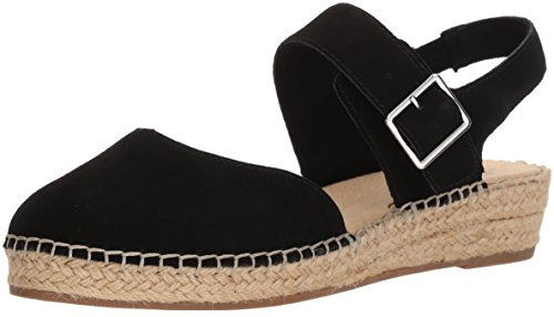 Bella Vita Women's Caralynn Espadrille Wedge Sandal, Black Kid Suede, 10 M US