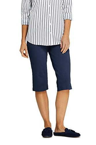 Lands' End Women's Sport Knit Elastic Waist Pull On Capri Pants Classic Navy